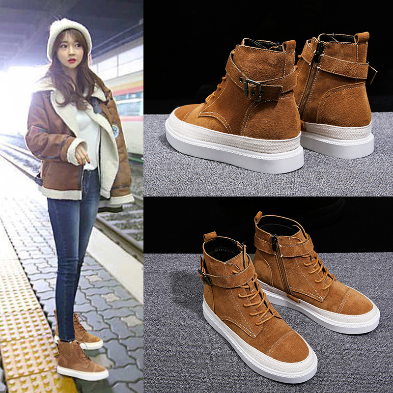 2018 New Spring and Autumn Pingdi Grinding Boots Martin Boots Female British Student Korean version of 100 shoes цена