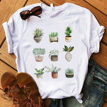 Korean Styel Tshirt Women Ladies Cactus Printed Short Sleeve Cute Tops Loose Funny Female Graphic Tees t-shirt 2019