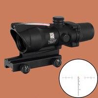 ACOG 4X32 היקף ציד ירוק סיבי מקור אדום מואר Riflescope שחור טאן צבע טקטי כוונות אופטיות