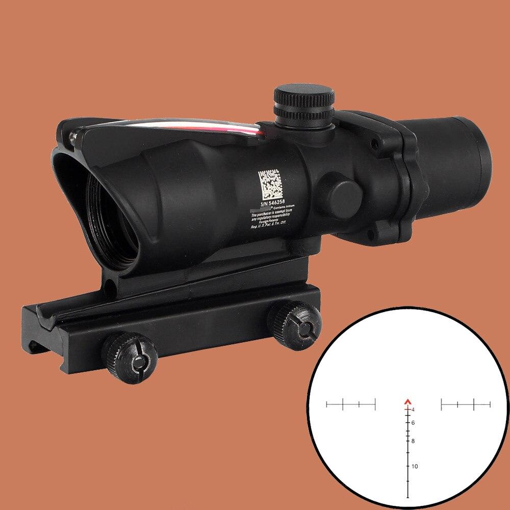 Ohhunt Caccia Mirino ACOG 4X32 Reale Fibra Ottica Rosso Verde Illuminato Chevron di Vetro Acidato Reticolo Tactical Optical Sight