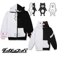 Аниме Danganronpa косплэй костюм Monokuma для женщин Человек Черный, белый цвет медведь свитер с капюшоном подростков обувь для девочек теплое зимнее пальт