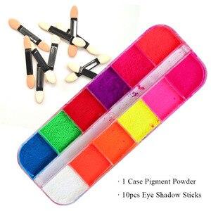 Image 2 - Kit de pó de glitter para unhas 12cores, pó cromado de cor pó de arco íris para decoração de manicure laye