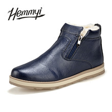 Hemmyi Genuine Leather Boots Men Winter Ankle Boots Zipper Keep Warm Leather Shoes Male Botas Chaussures