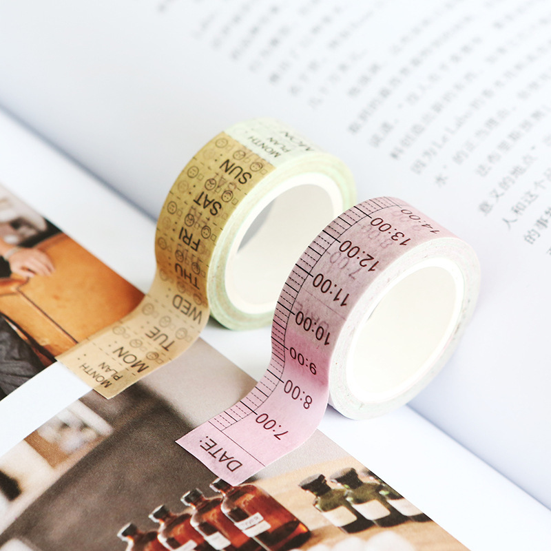 15mmX7m Weekly Time Line Washi Tape Planner Masking Tape Bullet Journal Scrapbooking School Accessories Supplies Stationery