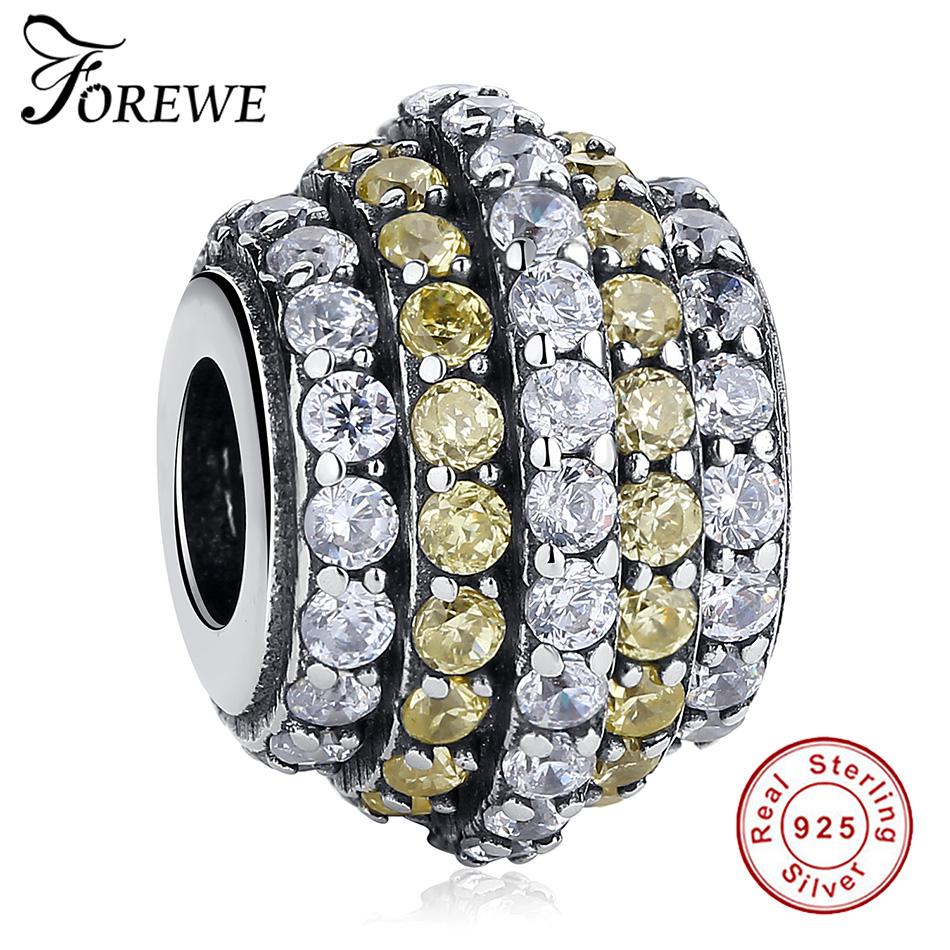 FOREWE Real 925 Sterling Silver Jewelry Gradual Change Wheel Yellow Clear CZ Beads fit Original Pandora Charm Bracelet Necklace