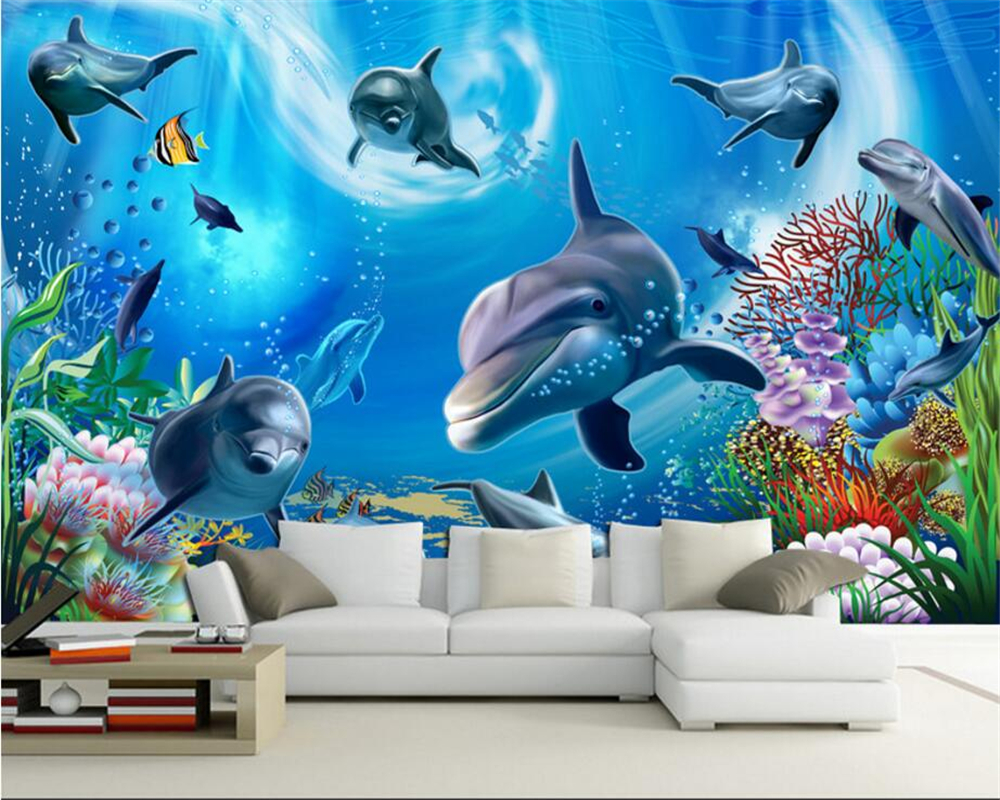 Beibehang Custom Wallpaper 3D Underwater World Aquarium