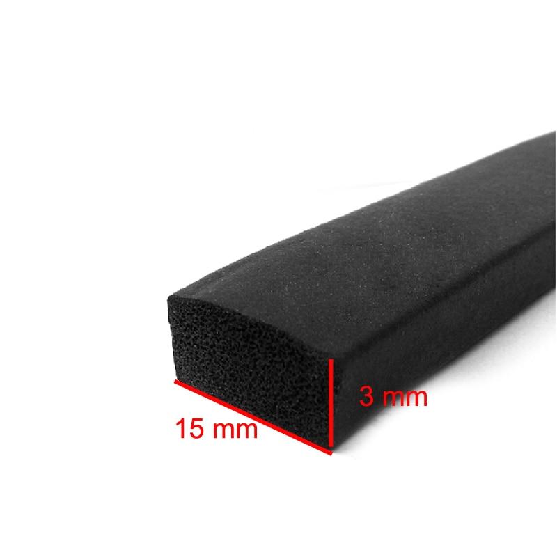 3m x 15mm x 3mm self adhesive flat rubber foam cabinet door window seal strip weatherstrip