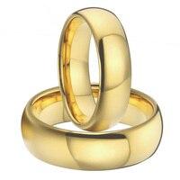 1 çift 8mm & 6mm altın kaplama titanium alyans çiftler erkekler ve kadınlar için yüzük setleri ittifak anel ouro boyutu ABD 5-15