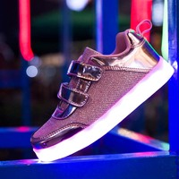 2017 Children LED Luminous Shoes Glowing USB Charging Casual Light Up For Kids Boys Girls Sneaker