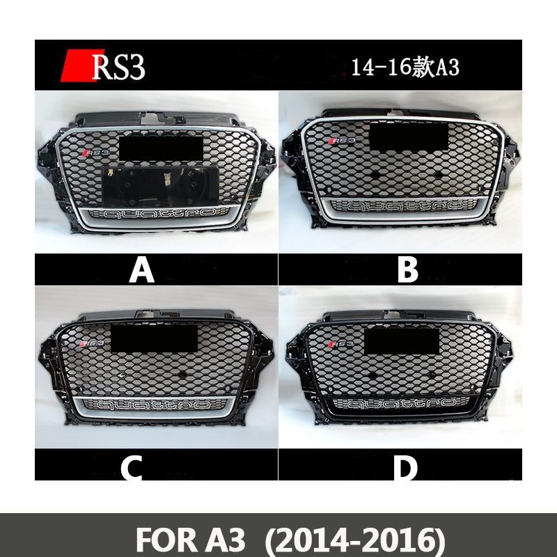 2014-2016 RS3 Chrome black frame front Grille Racing Grills Honeycomb quattro grill for Audi A3 RS3 front bumper brand new a3 rs3 abs oem style auto car front bumper mesh grills with camera hole for audi fit for a3 rs3 2013 2014