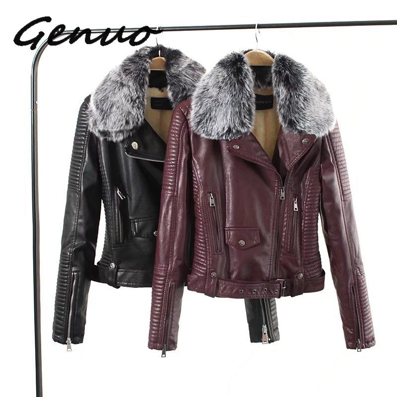 Genuo New   Leather   Jackets 2019 New Autumn Winter Faux Lambs Warm Pvc Coat Woman Slim Long Sleeved Motorcycle Bikers Jacket