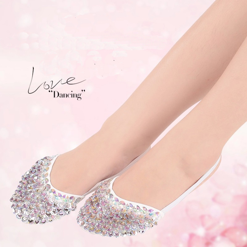 New Arrival Haff-sole Belly Dance Shoes With Sequins Rhinestones For Ballet/Latin/Dancing High Quality Shiny Dancing Foot-Thongs