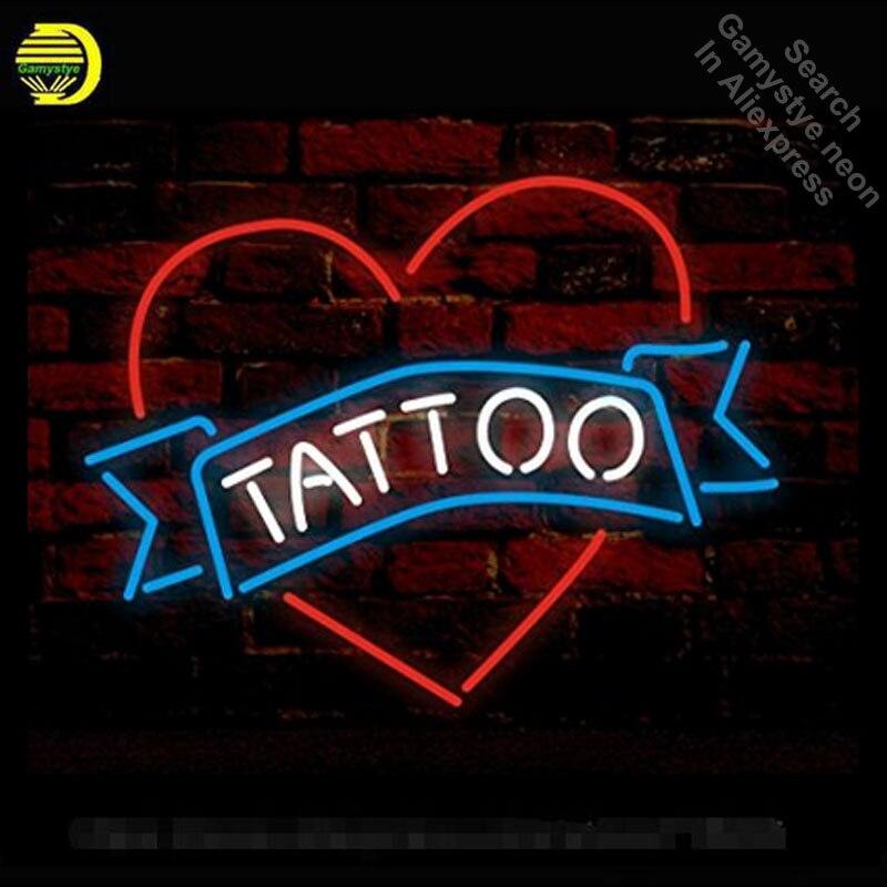 Неоновая вывеска для тату в форме сердца неоновая Настоящая стеклянная трубка неоновые огни для отдыха пивной бар Профессиональный Знаков