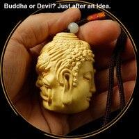 Small Boxwood Statues Devil or Buddha Statue