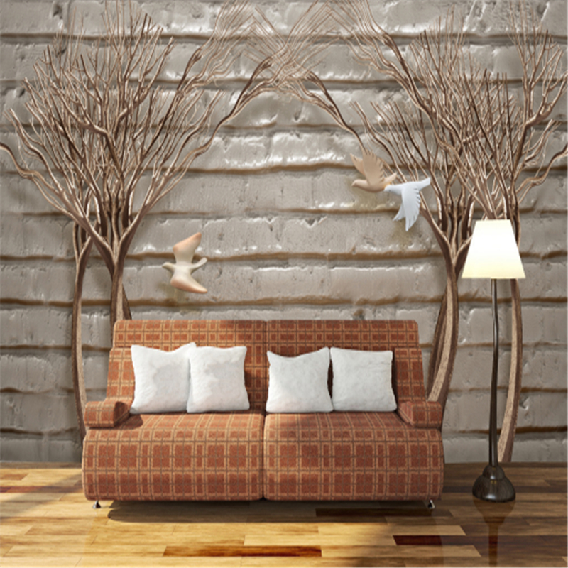 Custom Wallpaper For Walls 3 d Stereo Withered Tree and White Dove Wall Paper Bedroom Wall Decor Non-Woven Wall for Living Room beibehang wall paper pune girl room cartoon children s room bedroom shop for environmental non woven wallpaper ocean mermaid