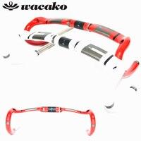 Wacako pleine fiber de carbone route vélo cuisses route guidon bent bar intérieure routage brillant 31.8*400/420/440mm pièces de vélo