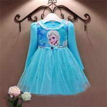 Бесплатная доставка дети эльза платья для девочек осень с длинными рукавами дети рождество ну вечеринку костюмы для девочек королева девушка платье