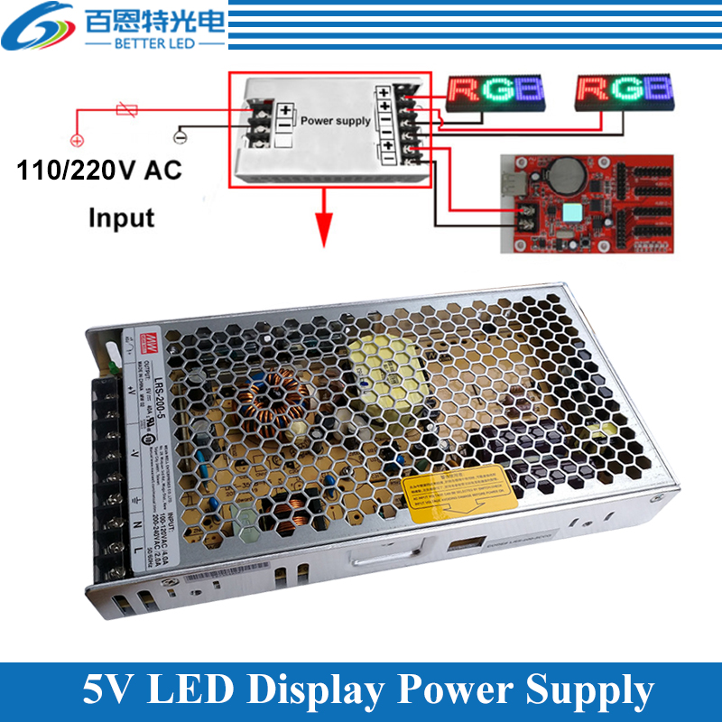 High Quality Ultra-thin MEAN WELL 110V/220VAC Input, 5V 40A 200W/ 5V 60A 300W Output Special LED Display Power Supply