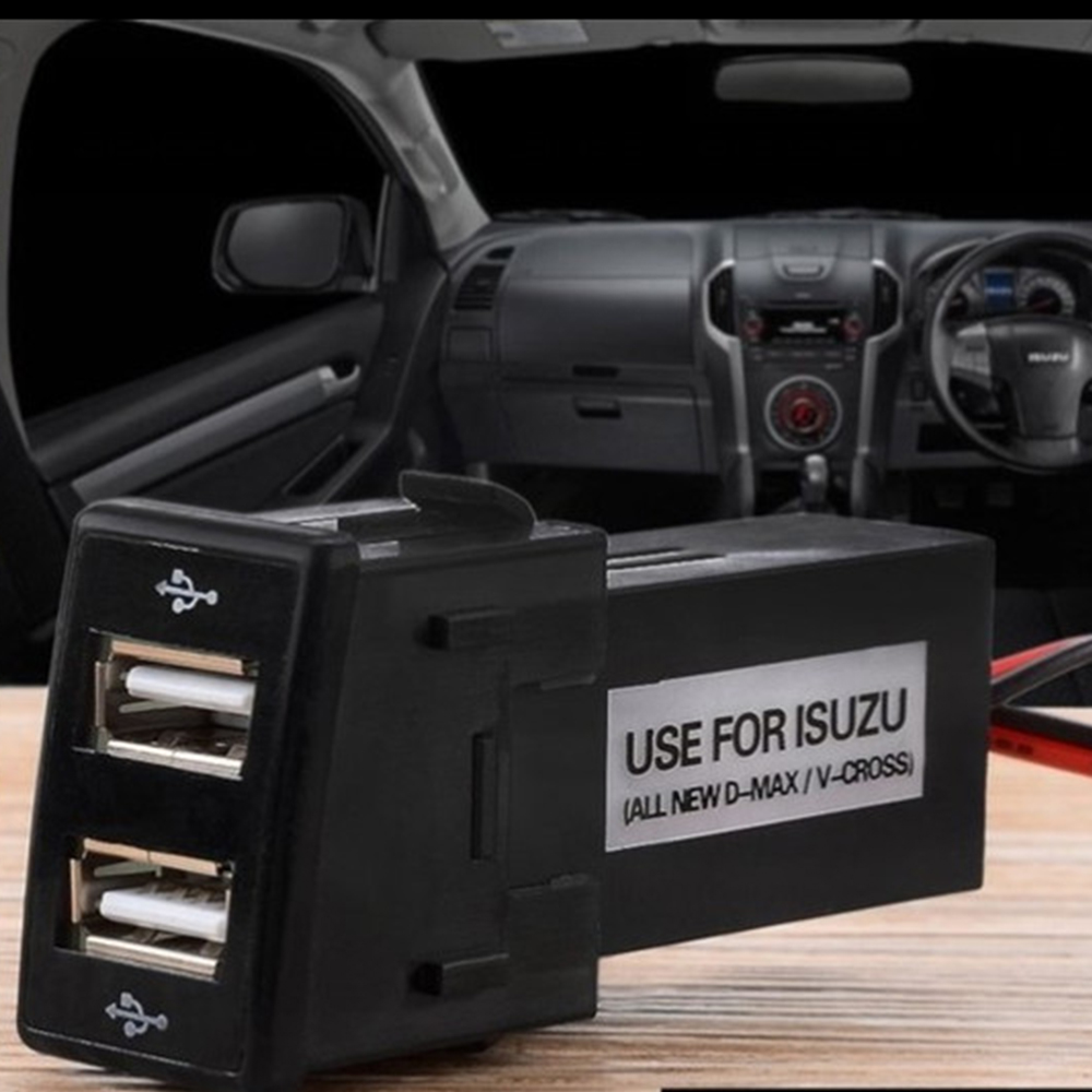 hot Dual USB Phone Charger Socket Dashboard Phone Charger Interface Socket Car Charger Use for Isuzu 12V 2.1A