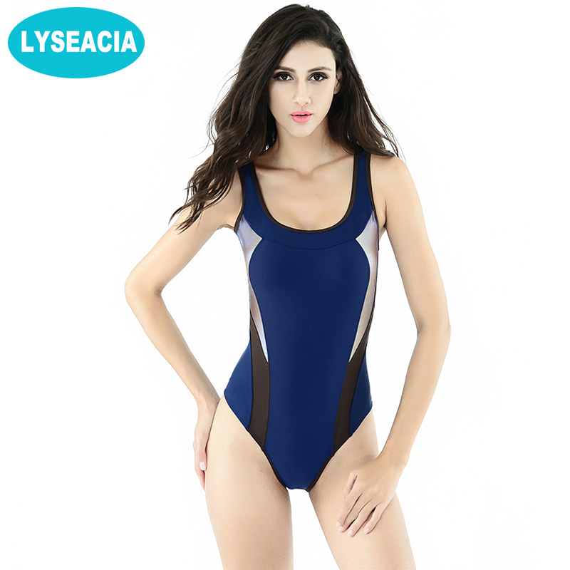 LYSEACIA Slim Girls Sports Swimsuits Women Low Back Monokini Bathing Suit One Piece Swimwear Women Beach Swimming Suits Stretch low back scalloped one piece bathing suit