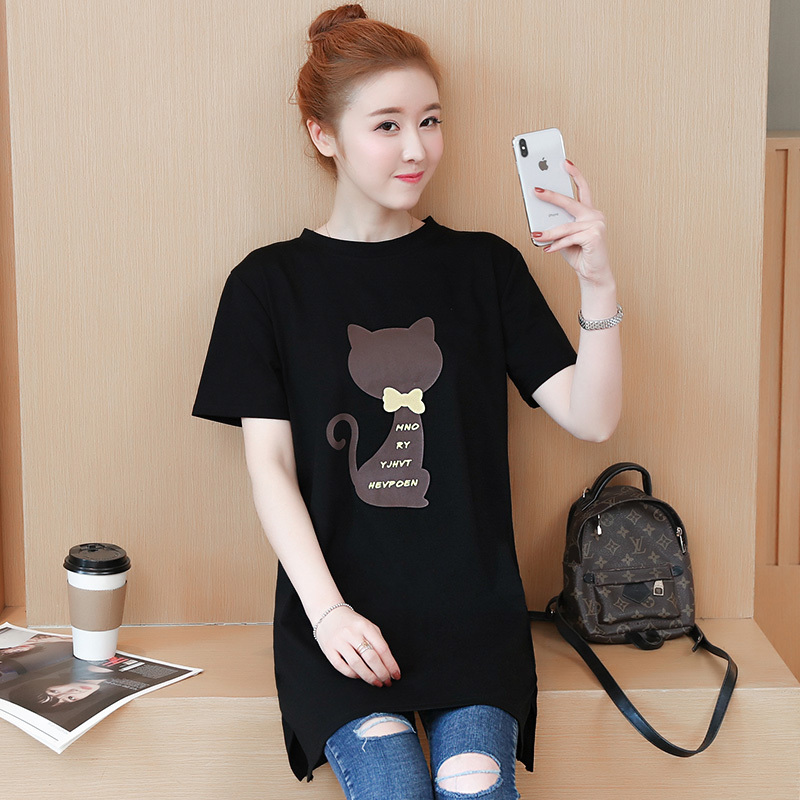 2018 Large size Women T-shirt dress summer Short sleeve Cats print Top Tees Casual O-neck Loose Female Tshirt Plus size 5XL J215 2