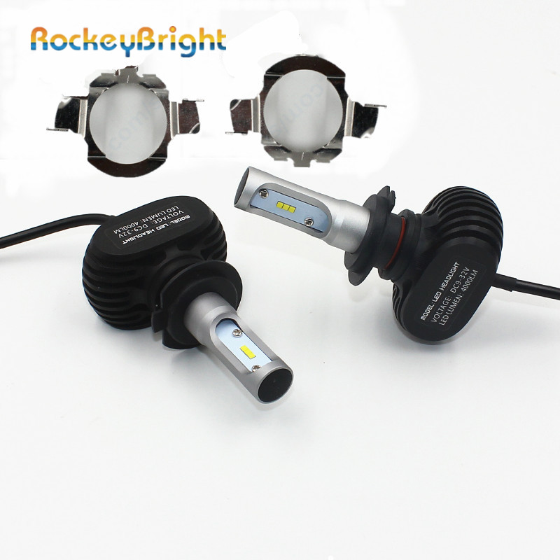 Rockeybright N1 <font><b>H7</b></font> Car <font><b>Led</b></font> <font><b>Headlight</b></font> Bulbs with <font><b>H7</b></font> Bulb Holder Adapter for Mercedes-Benz C class for VW MK6 For <font><b>BMW</b></font> 5 Series <font><b>E60</b></font> image