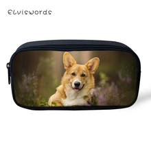 ELVISWORDS Kawaii Kids Pencil Case Cute Shiba Inu Dogs Animal Pattern Students Stationery Box School Pen Bags Womens Beautician
