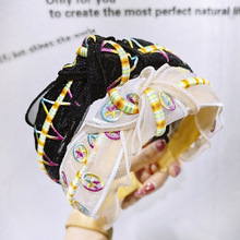 Embroidery Colorful Flower Headbands For Women Yarn Weave Hairbands knot Headband Korea Hair Accessories For Girls