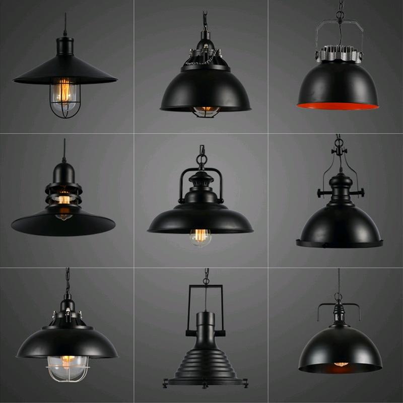 2016 Retro Hanging Lamp, Industrial Style Vintage Pendant Lights with Metal for Bar Cafe Restaurant E27 Lamp Holder,Black,220V