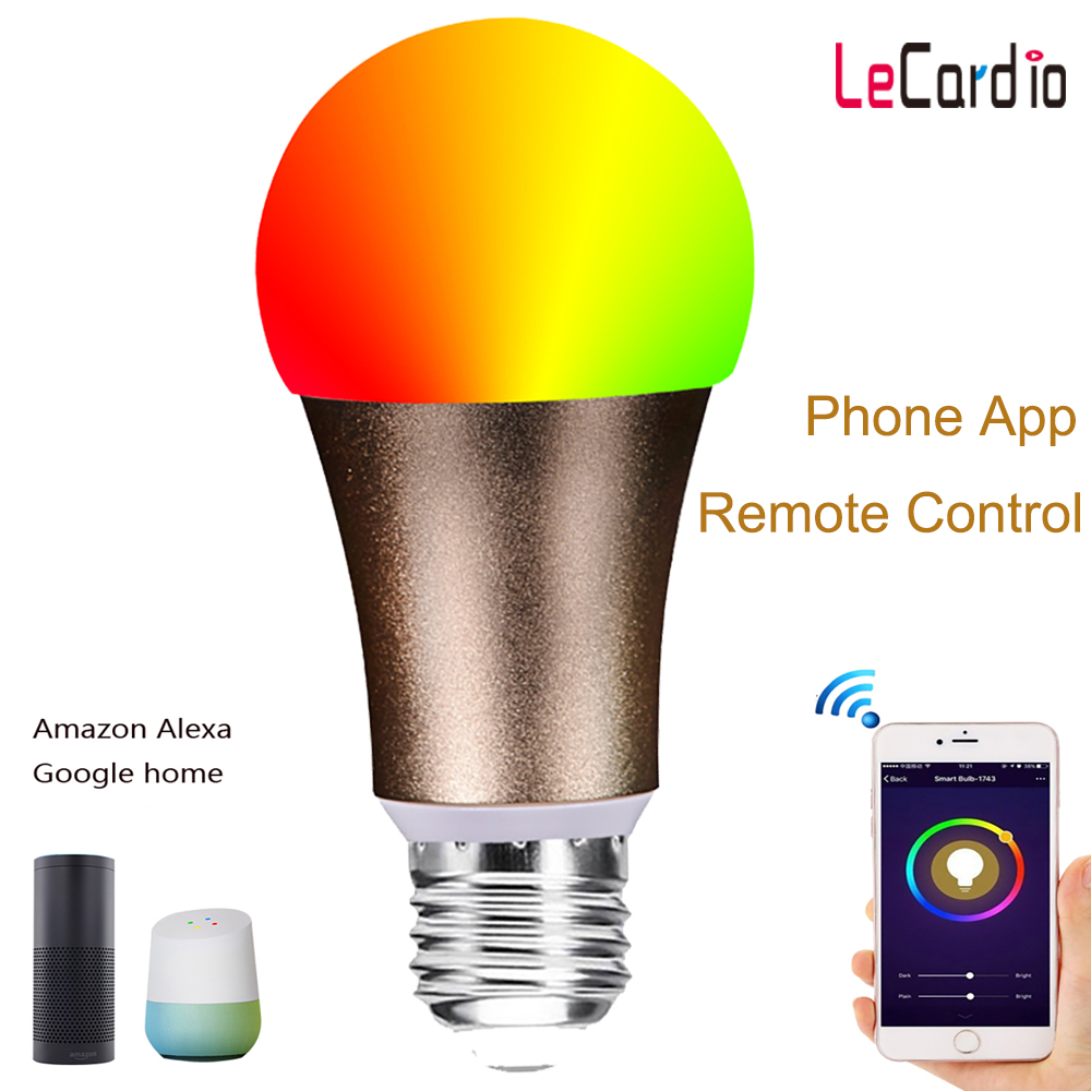 Wifi Rgb Bulb Smart Light Lamp E27 E26 Led Dimmable Wake