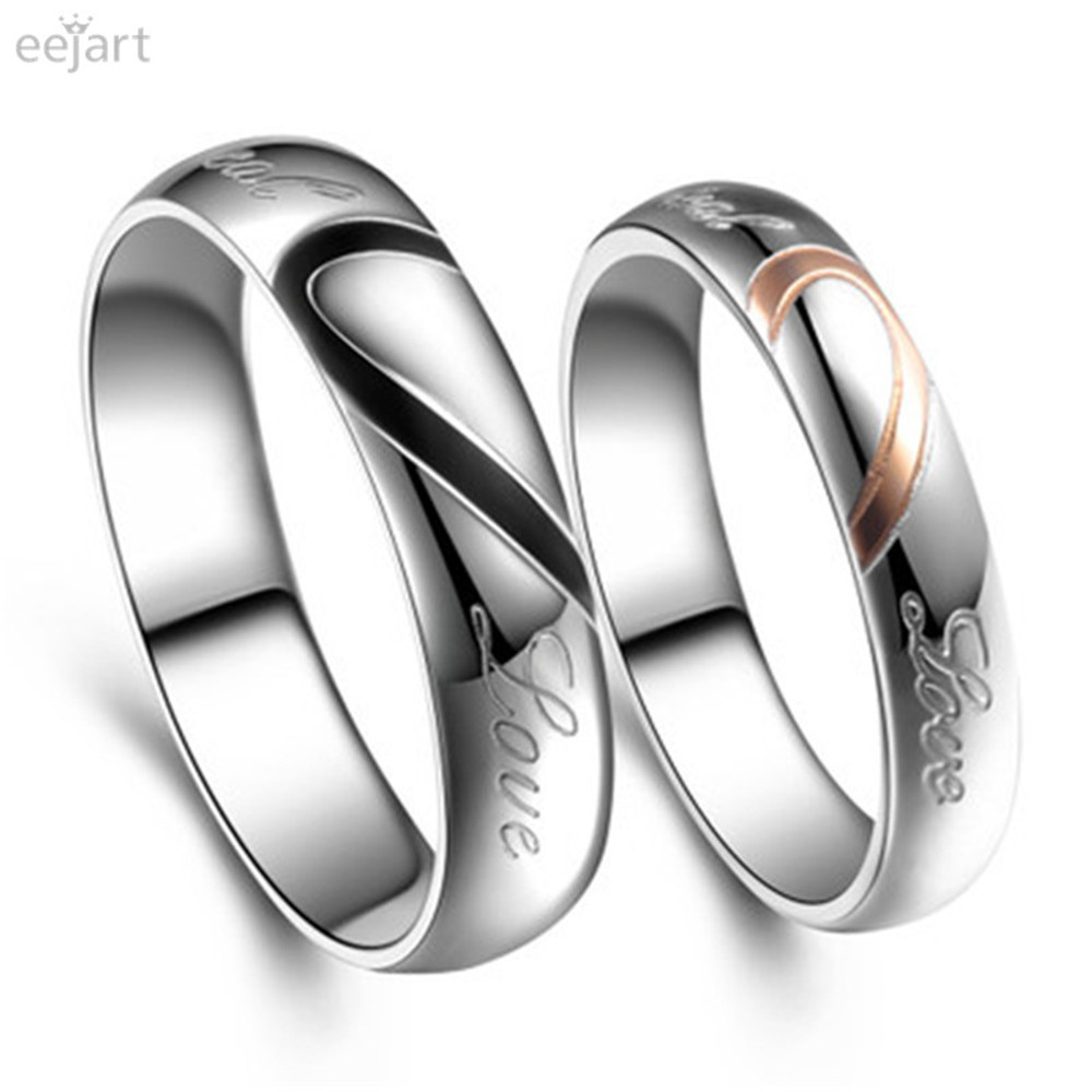 eejart 1 piece fashion love heart couple ring for lovers wedding engagement rings wholesale stainless steel jewelry