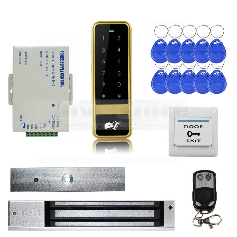 DIYSECUR 280KG Magnetic Lock 125KHz RFID Reader Password Keypad Door Access Control Security System Kit diysecur 280kg magnetic lock 125khz rfid password keypad access control system security kit exit button k2