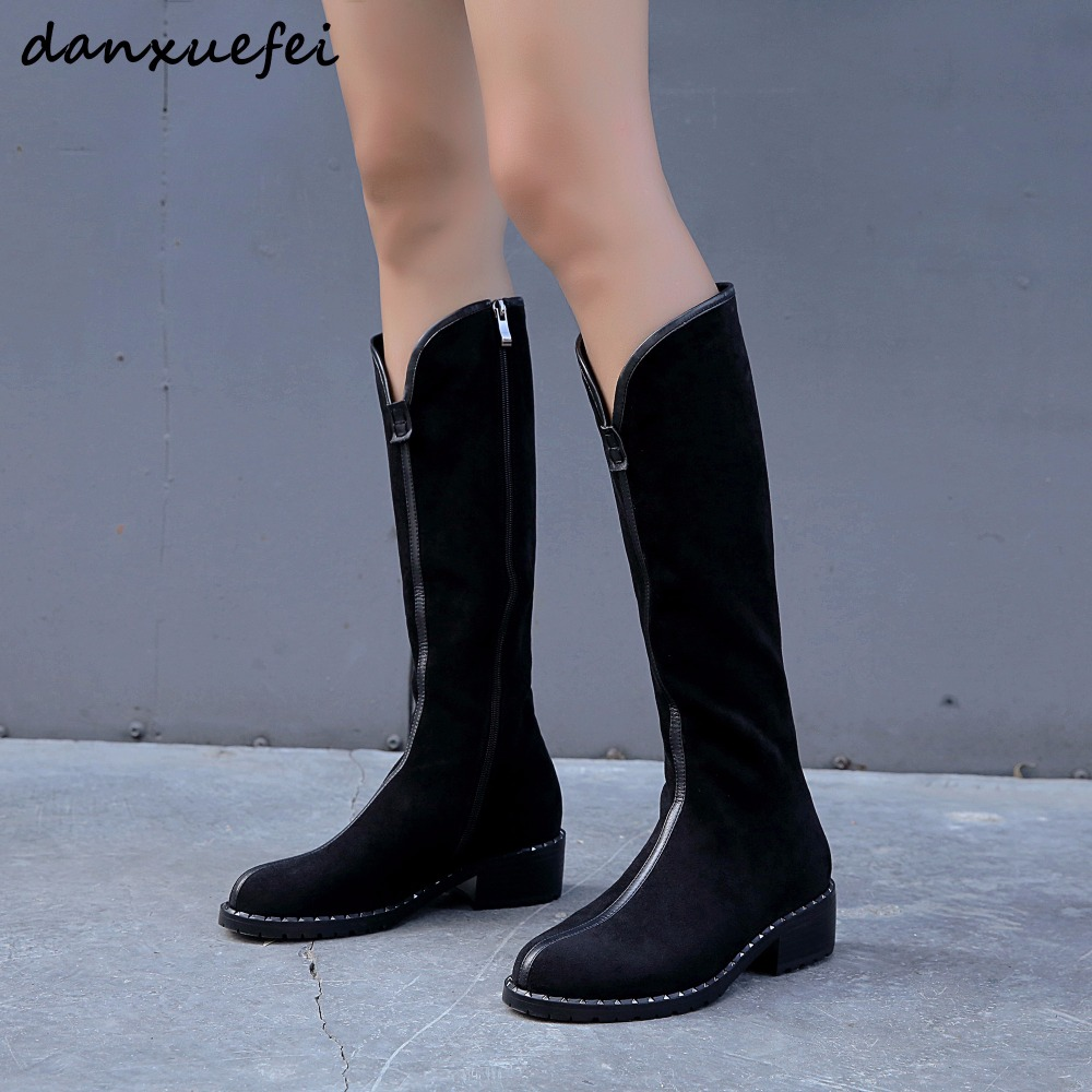 Womens Genuine Suede Leather Bordered Autumn Knee High Boots Brand Designer Leisure Winter Flats Long Boots High Quality ShoesWomens Genuine Suede Leather Bordered Autumn Knee High Boots Brand Designer Leisure Winter Flats Long Boots High Quality Shoes