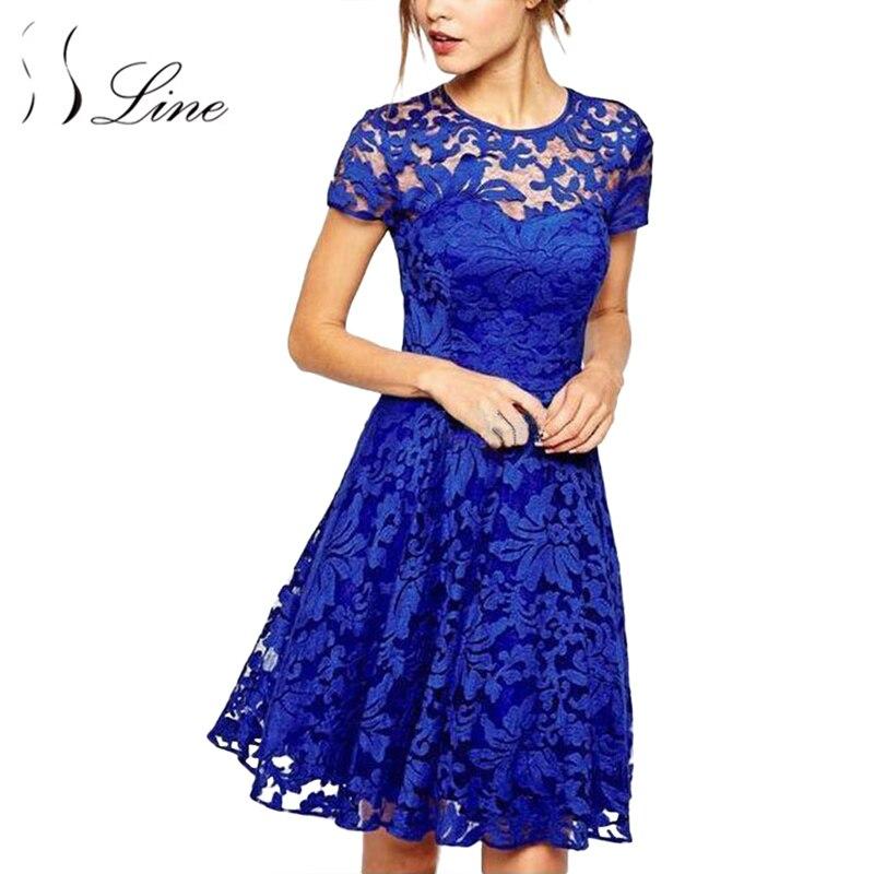 SSLine Women Lace font b Dress b font 2018 Fashion Women font b Elegant b font