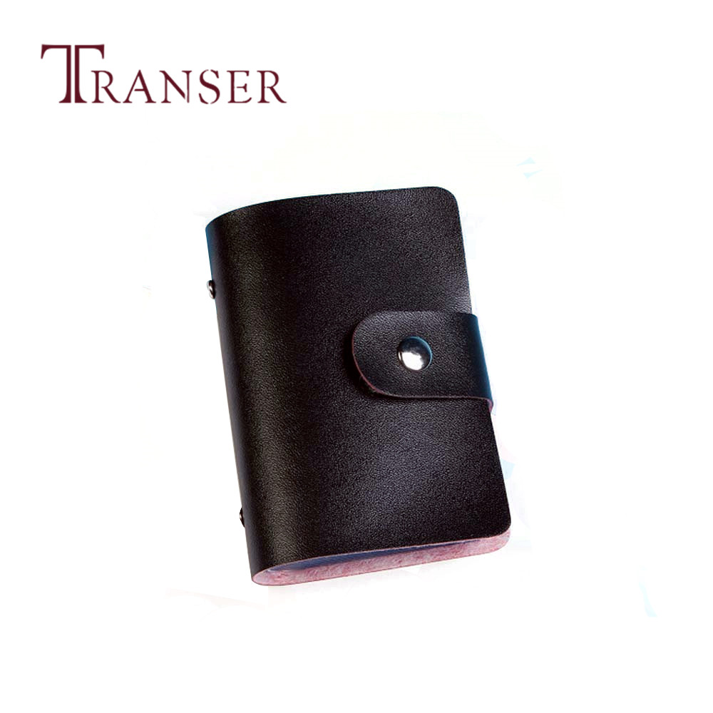 TRANSER New Men Women Leather Credit Card Holder Case Card Holder Wallet Business Card Women Solid High Quality Hasp Black Aug21