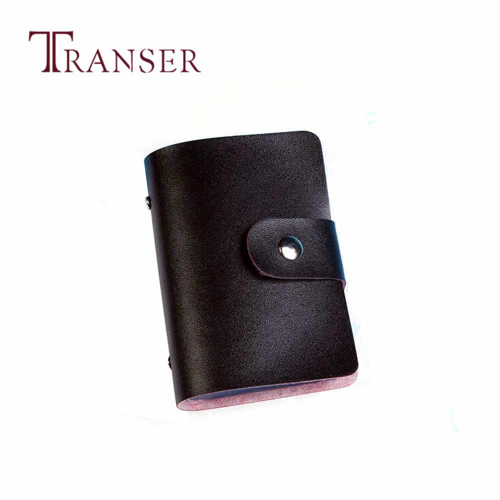TRANSER nouveau hommes femmes cuir porte-carte de crédit étui portefeuille porte-cartes carte de visite femmes solide haute qualité Hasp noir Aug21