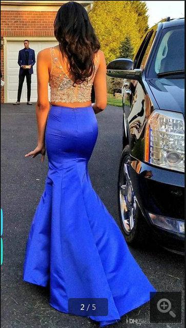 Não das Noivas 2016 Sexy Com Decote Em V de Duas Peças Vestidos de Baile Azul mermaid evening party dress longo tanque de cetim vestido de robe de sarau