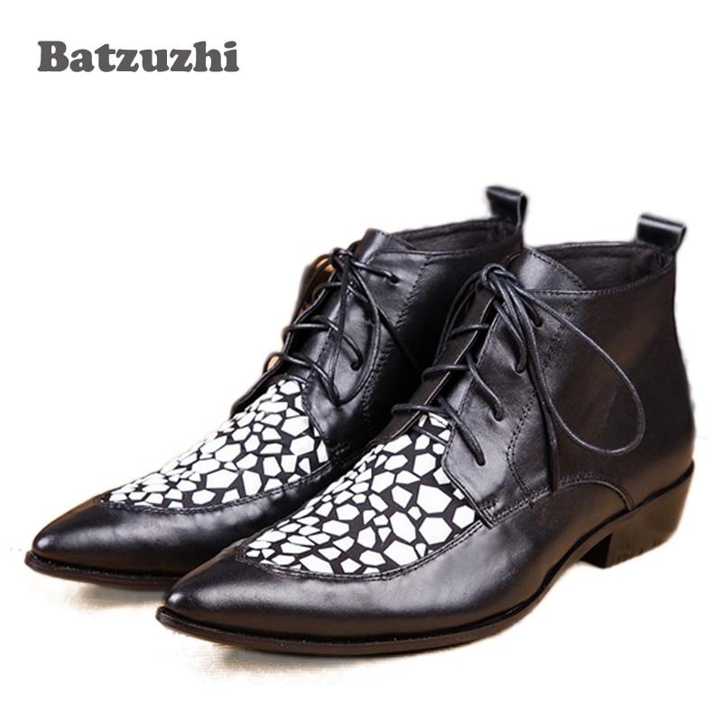 Batzuzhi Men's Boots Lace-up Black Leather Boots Pointed Toe Fashion Leather Shoes Men Italian Style Designer's Botas, Pluz Size batzuzhi italian style cowhide men s leather boots fashion black mens business dress fashion men personalized boot big size 46