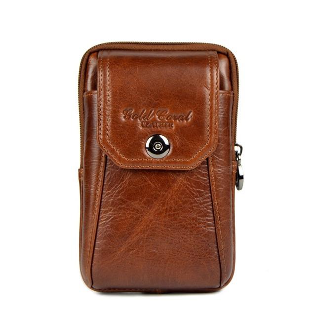 Recién llegado de cuero genuino hombre paquete de la cintura bolsas de cintura moda para hombre paquete de teléfono celular hombres de piel de vaca de fanny bolsas bolsos