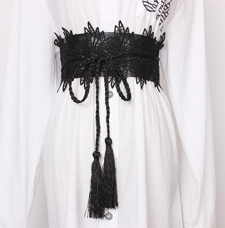 Women's Runway Fashion Lace Cummerbunds Female Dress Corsets Waistband Belts Decoration Wide Belt R1407