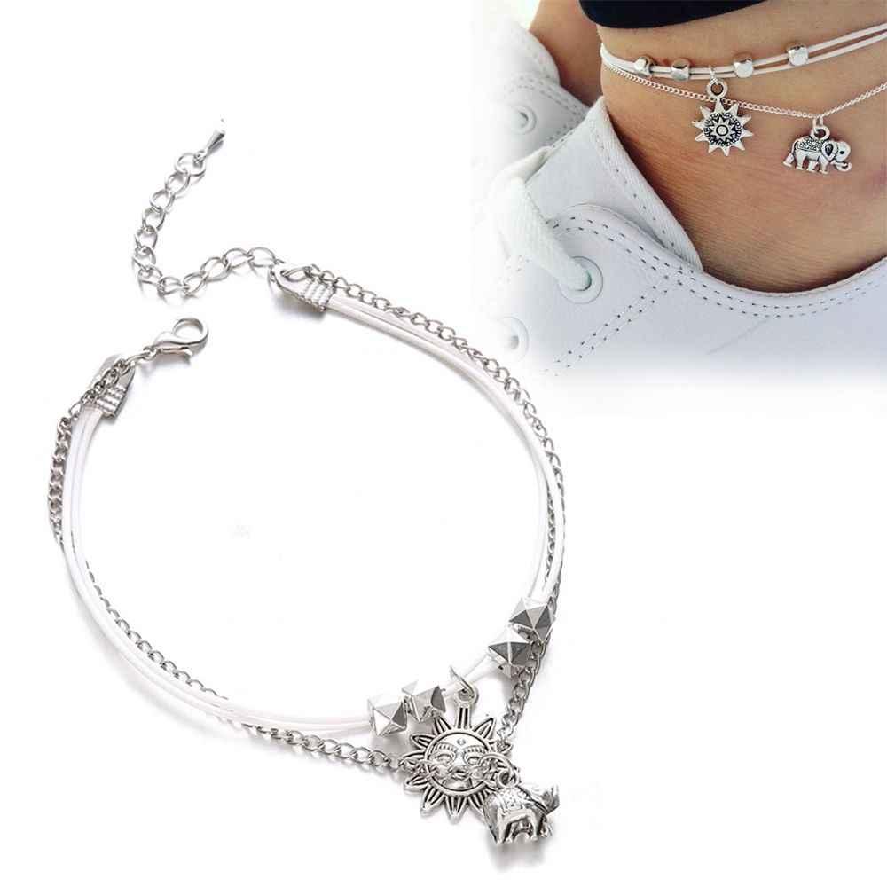 1 шт. Летний Набор браслетов для ног слона для женщин винтажные пляжные ножные браслеты для ног бохо стиль вечерние ювелирные изделия богемное заявление