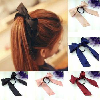 1pc Women Tiara Satin Bow Tie Scrunch Hair Band Ribbon Scrunchie Ponytail Holder Rope Rings Hair Accessories for Girl Hair Accessories