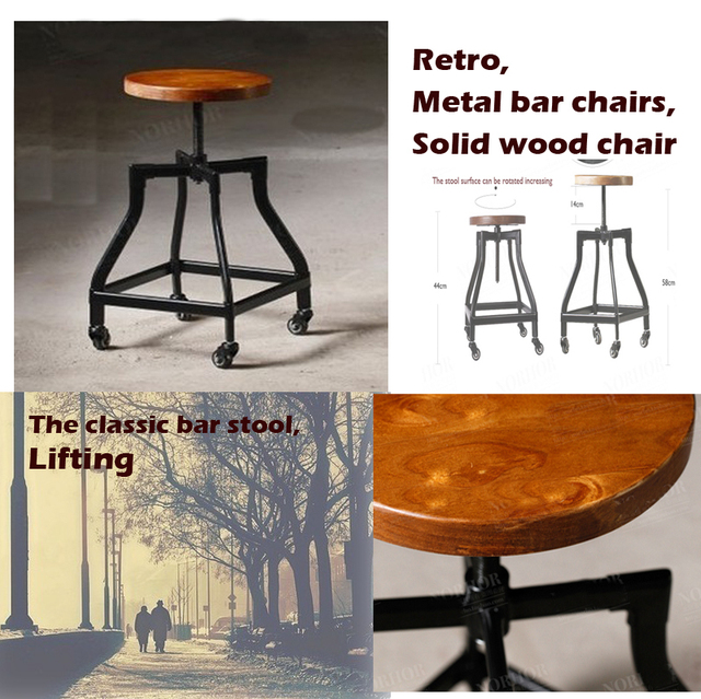 Vintage metal bar chair,bar chair lift,100% wooden bar chair,The pulley of the bar chair,wood stool,metal furniture