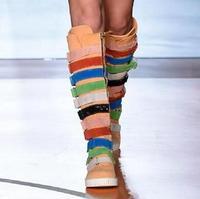 Dipsloot Новый 2018 Женская мода смешанные Цвет сапоги до колена Для женщин толстый каблук сапоги на плоской подошве для девочек круглый носок По