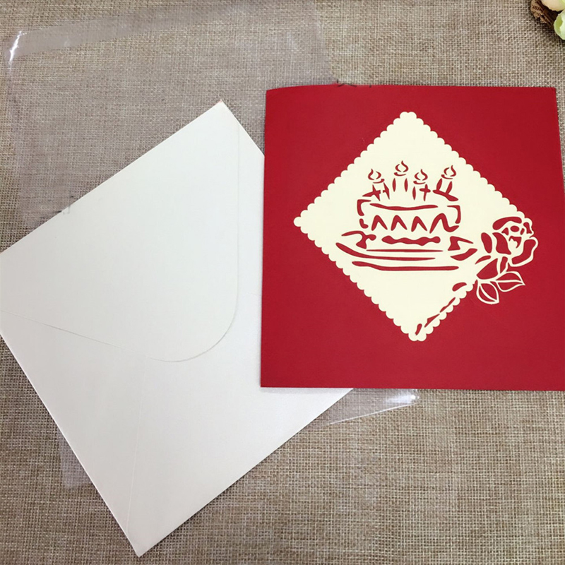 1pcs Sample Fireworks Laser Cut 3D Handmade Pop Up Greeting Cards Postcard Kraft Kirigami Free Envelope Birthday Supplies Gifts (4)