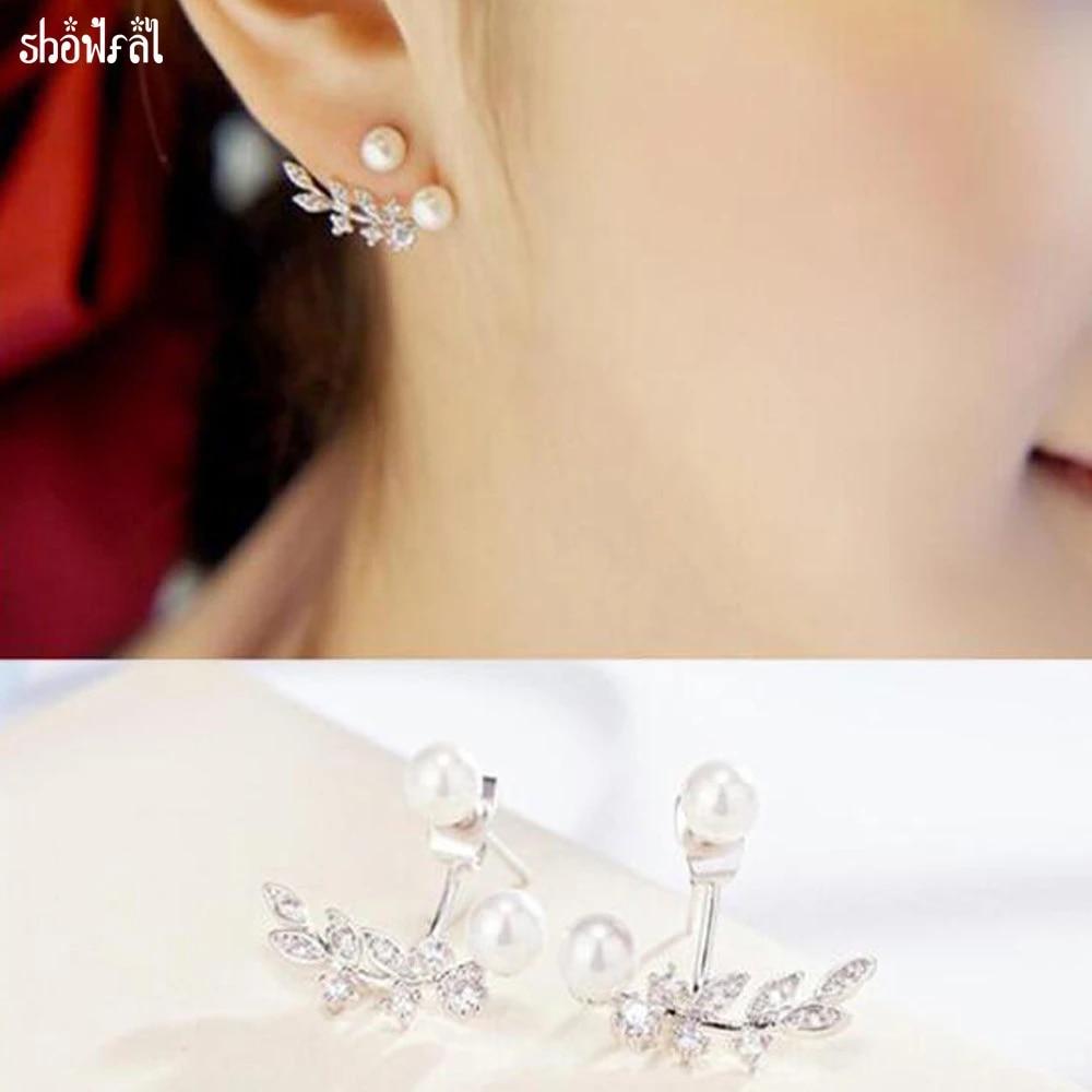 Kristalle Von Swarovski Mode Doppel Perle Ohrringe Schmuck Rose Gold Leaf  Ohrstecker Für Frauen Bijoux Brincos Geschenk