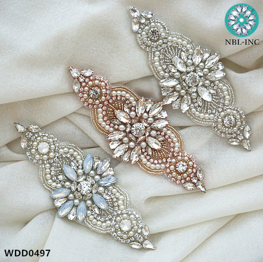 30PCS Wedding dress Rhinestone Applique DIY iron on bridal beaded crystal applique for dresses garment WDD0497
