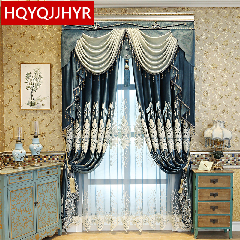 Dark Blue European Top Luxury Flannel Blackout Curtains For Living Room Decoration With High Quality Voile Curtain For Bedroom