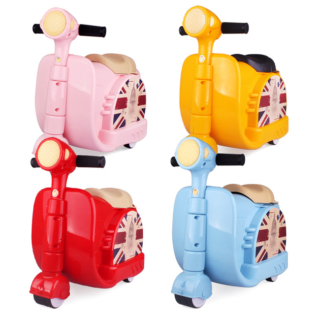 LeTrend Cute Cartoon Children Rolling Luggage Spinner Suitcase Wheels Students toy motorcycle shape  Trolley Kids Travel Bag