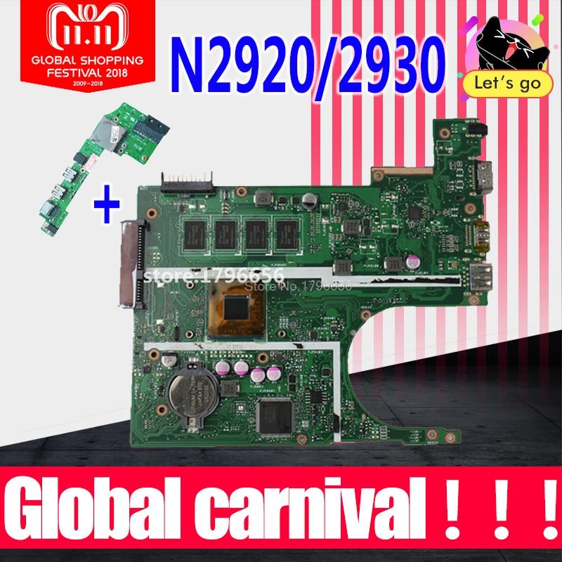 X200MA Motherboard REV2.1 N2920/N2930 2gb For ASUS K200MA F200M laptop Motherboard X200MA Mainboard test 100% OK send board x200ma motherboard n2815 cpu rev2 1 2g memory for asus k200ma laptop motherboard x200ma mainboard x200ma motherboard